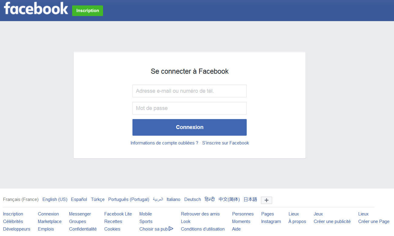 Facebook login: Connexion sécurisée
