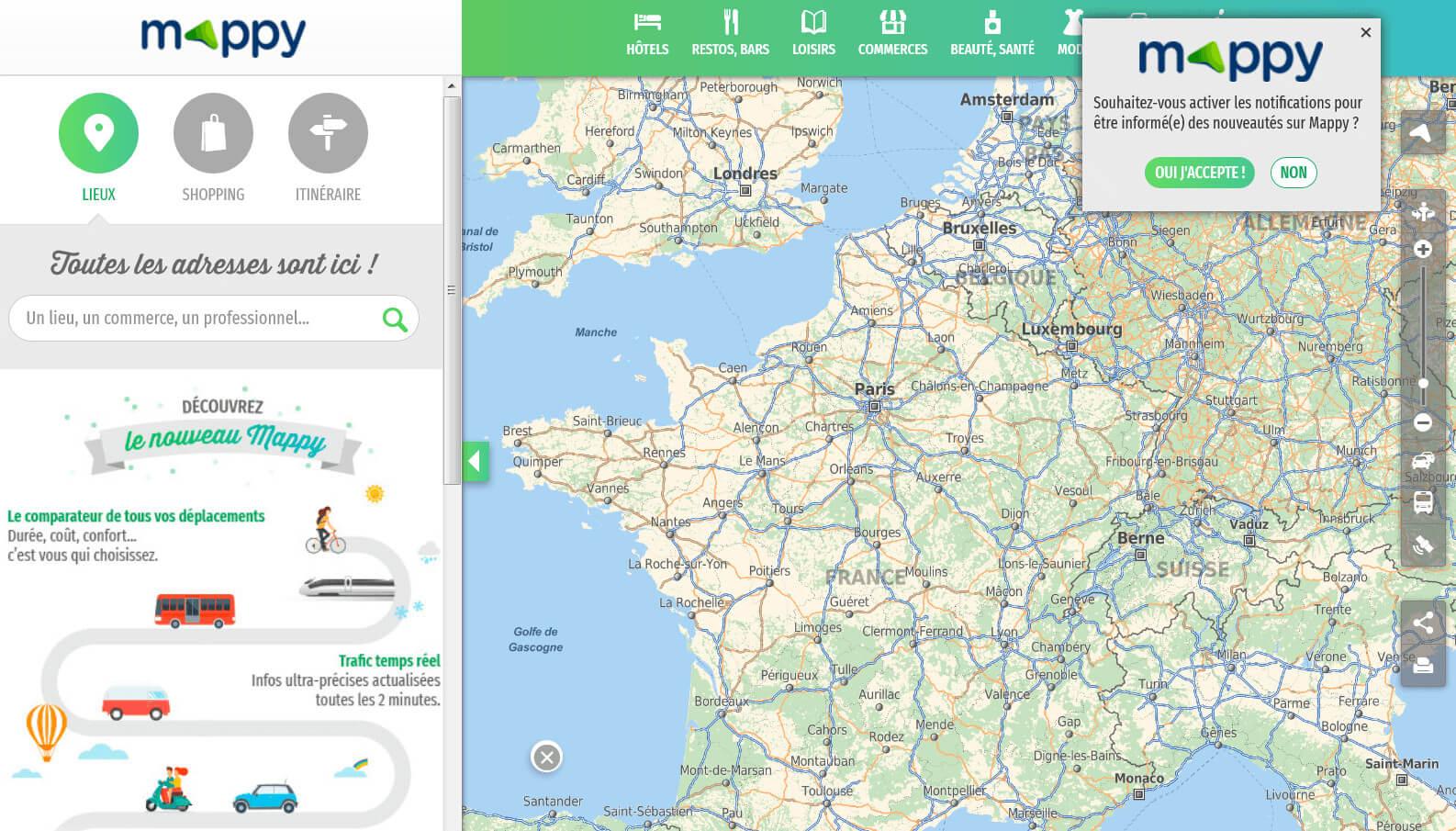 Mappy: Plans, itinéraires et cartes de France